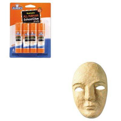 KITCKC4190EPIE542 Value Kit Creativity Street Paper Mache Mask Kit CKC4190 and Elmer's Washable All Purpose School Glue