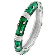 Dark Green Enamel Stacker Ring- Size- 09