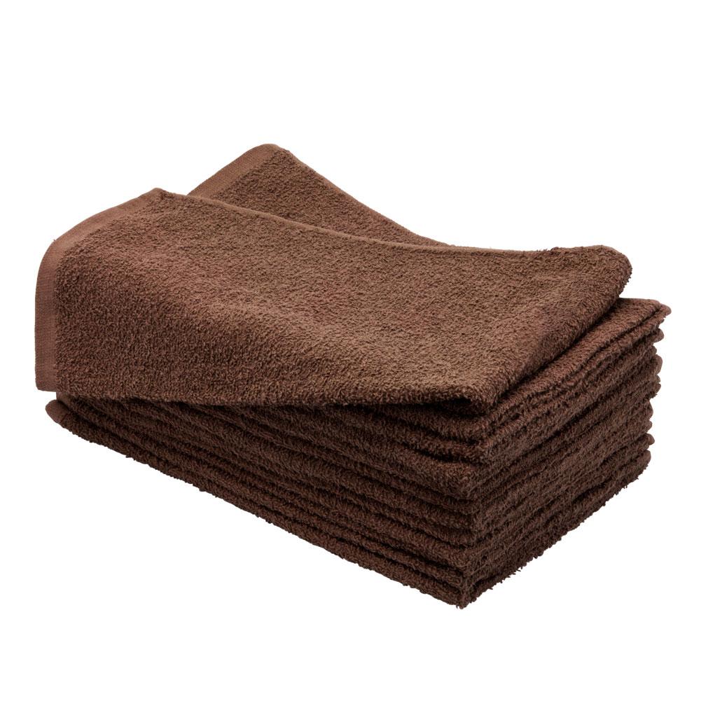 "Altima Plus 16"" x 27"" 12 Pack Bleach Chemical Resistant Cotton Salon Towels, CHOCOLATE BROWN, 78611"