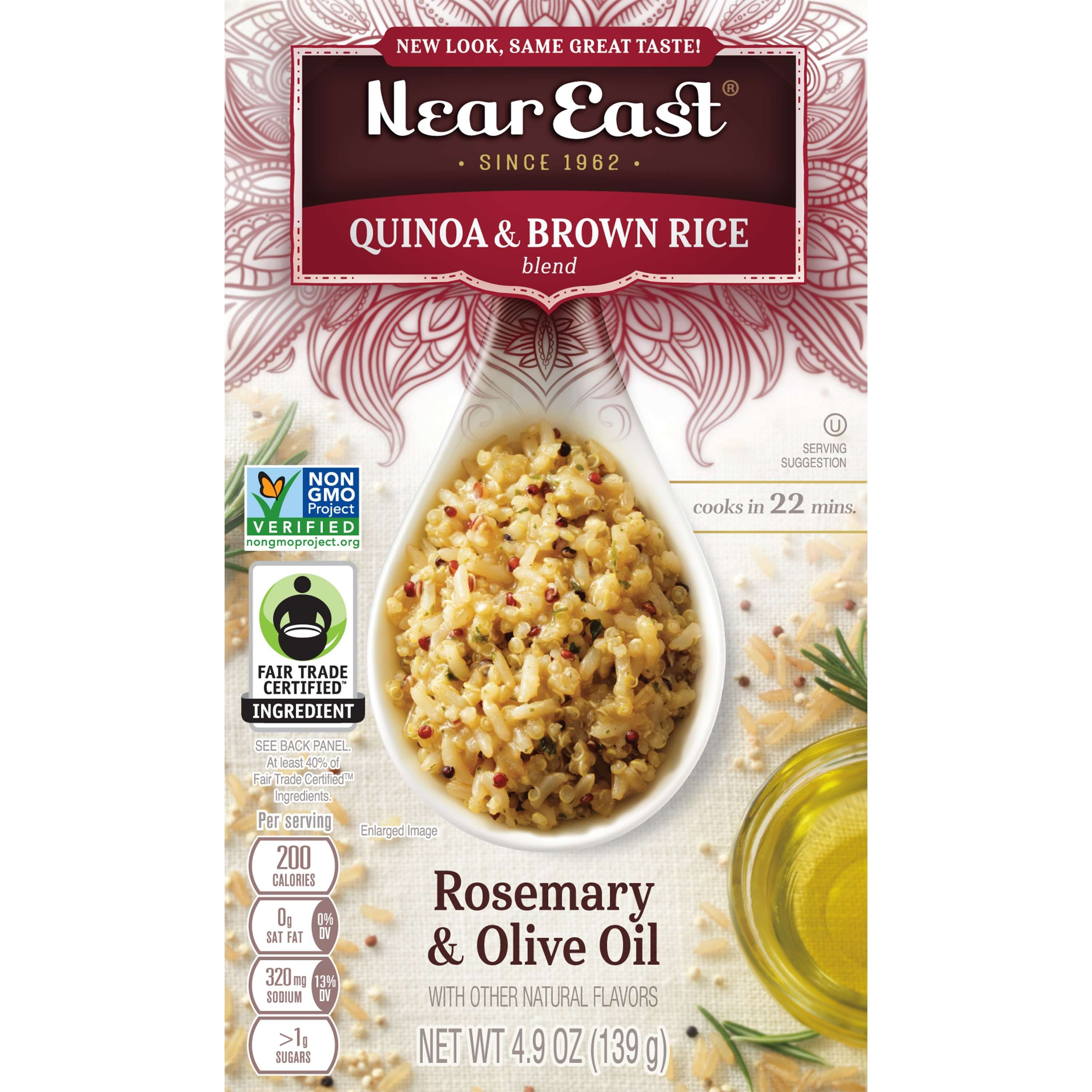 Near East Quinoa & Brown Rice Blend, Rosemary & Olive Oil, 4.9 oz Box