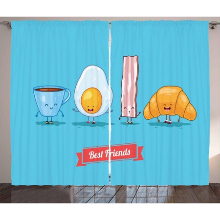 Bacon Curtains 2 Panels Set, Comic Figures of Breakfast Menu as Cup of Coffee Egg Bacon Croissant Best Friends, Window Drapes for Living Room Bedroom, 108W X 63L Inches, Multicolor, by (Best Start Menu Replacement For Windows 8.1)