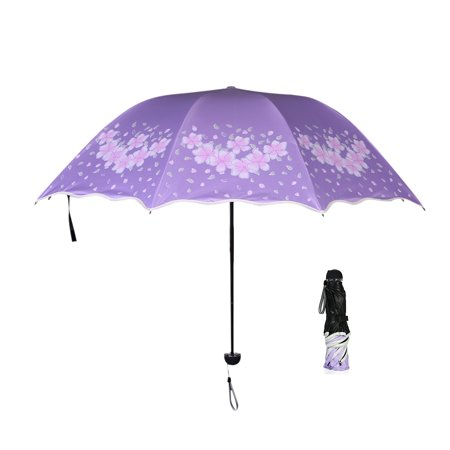 Women Triple Folding Rain Sun Umbrella 8-Rib Windproof Waterproof UPF 50+ UV Protection Umbrella with Black UVA Coating Wavy (Triple Folding Clasp)