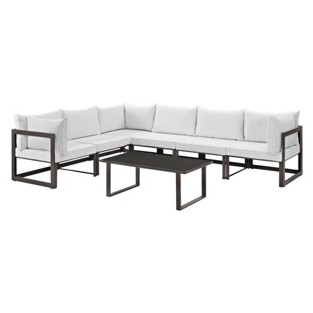 Fortuna 7pc Outdoor Patio Sectional Sofa Set - White - Modway