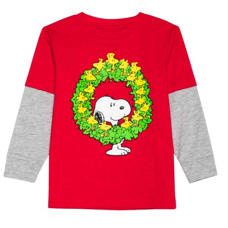 Peanuts Infant Toddler Boy Snoopy Woodstock Wreath Long Sleeve T-Shirt Tee