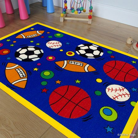 Allstar Kids / Baby Room Area Rug. Sports. Football. Basketball. Soccer and Baseball. Bright Blue Colors (3' 3
