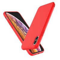 Njjex Case Cover for Apple iPhone 6 7 8 Plus X XS XS Max XR, Njjex Shockproof Ultra Slim Fit Silicone Cover TPU Soft Gel Rubber Cover Shock Resistance Protective Back Bumper -Red