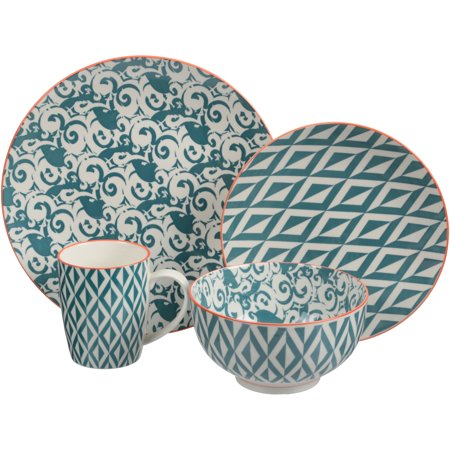 Better Homes Gardens Piers Dinnerware Teal Mix And Match Set Of