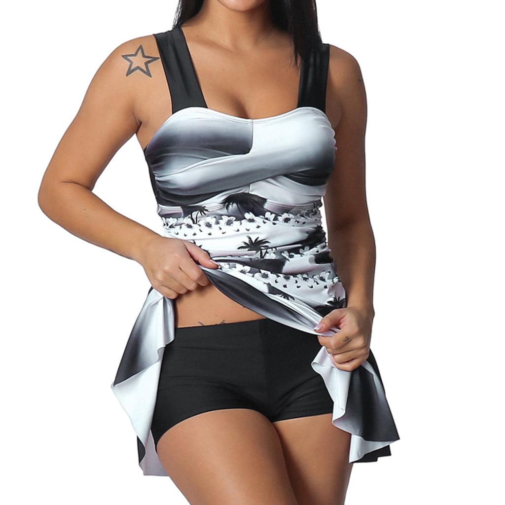 Rainbow Lady Tankini Swimdress Swimsuit Beachwear Padded Swimwear Plus Size Biki