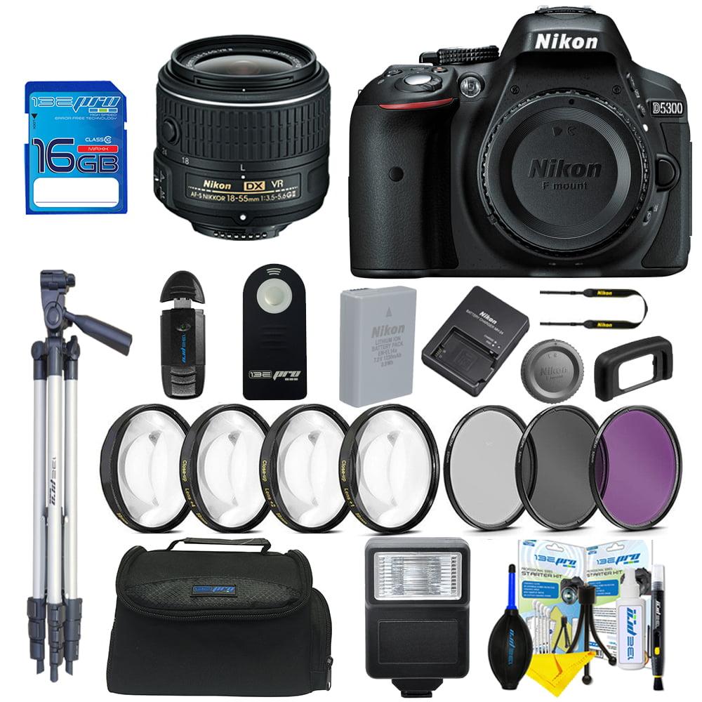 Nikon D5300 DSLR Camera with  Nikon AF-P DX NIKKOR 18-55mm f/3.5-5.6G VR Lens + Pixi Basic Bundle Kit