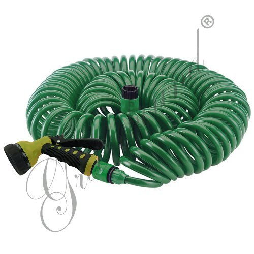 Greenbound 50 Feet Quick & Easy Release Connector Garden Coil Hose with 8 Pattern Spray Nozzle (Green)