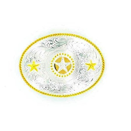 M&F Western Products 3757044 Womens Oval Rope Edge Texas Stars Buckle - Shiny Silver & Shiny Gold