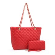 POPPY Women's Classic Quilted Shoulder Bag & Wallet Set Vagan Leather Metal Chain Strap Tote Handbag Purse 2PCS-Red A