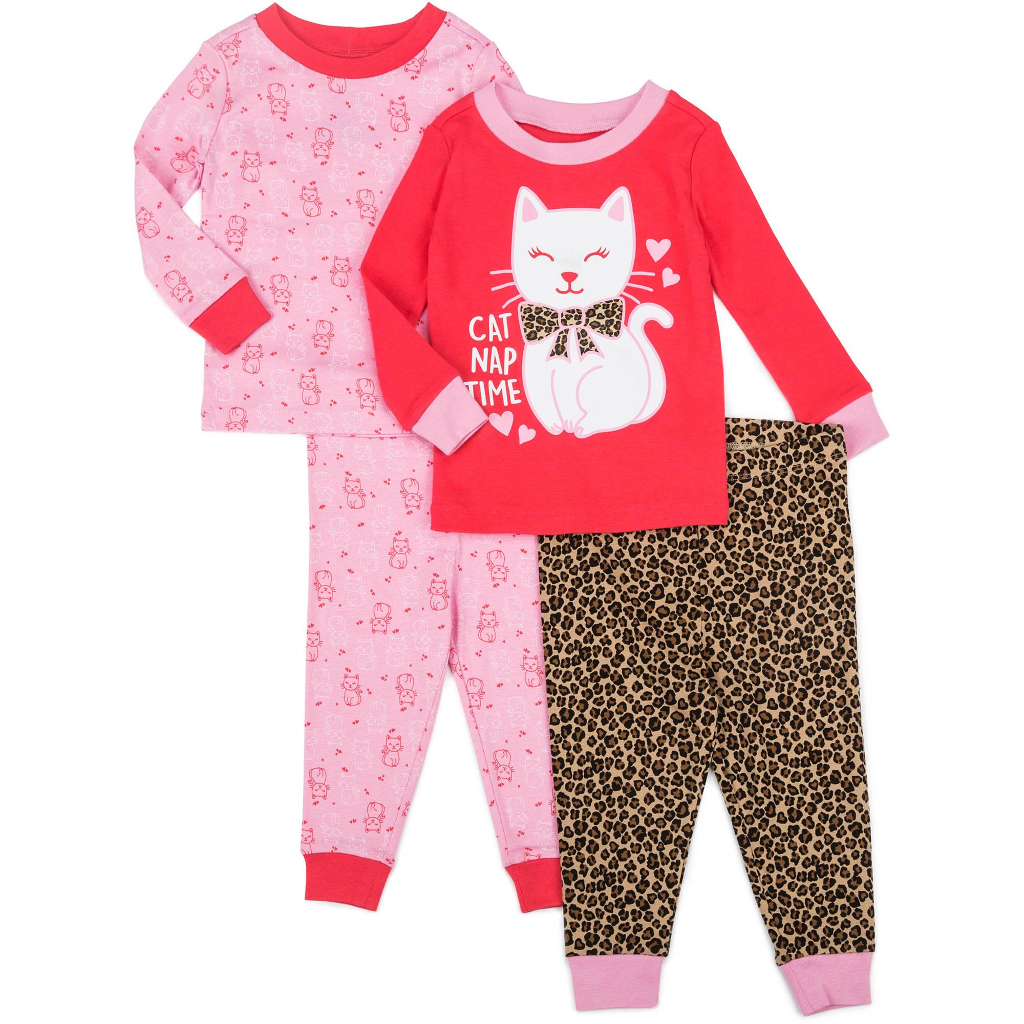 Newborn Baby Girl Tight Fit Kitten PJ 4-piece set