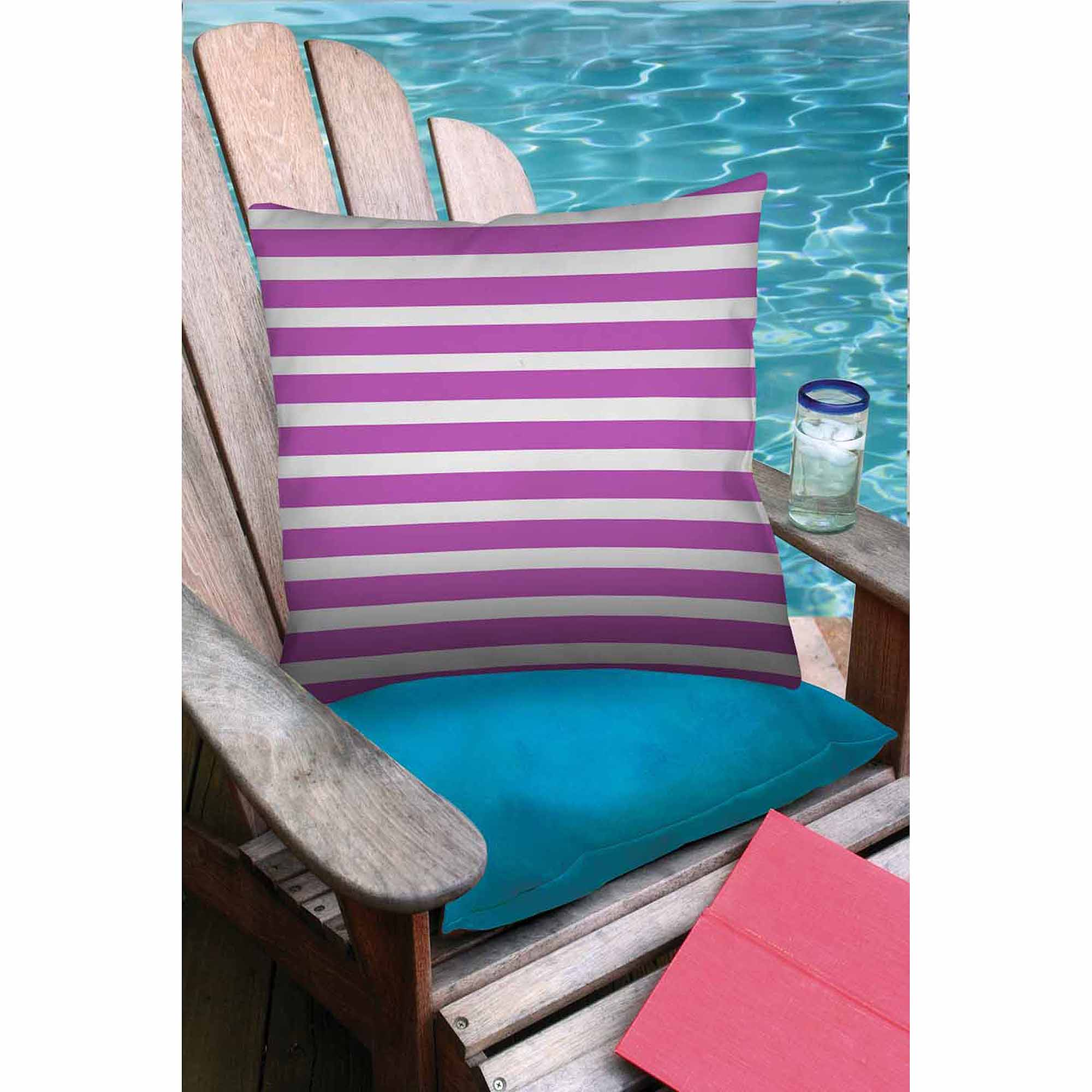 Thumbprintz Bright Stripes Pink Outdoor Decorative Throw Pillow