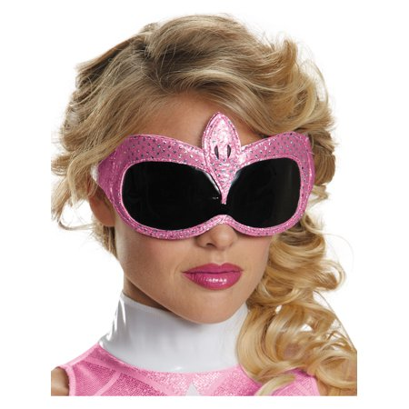 Adults Pink Mighty Morphin Power Ranger 1/4 Mask Costume Accessory - Austin Powers Mask