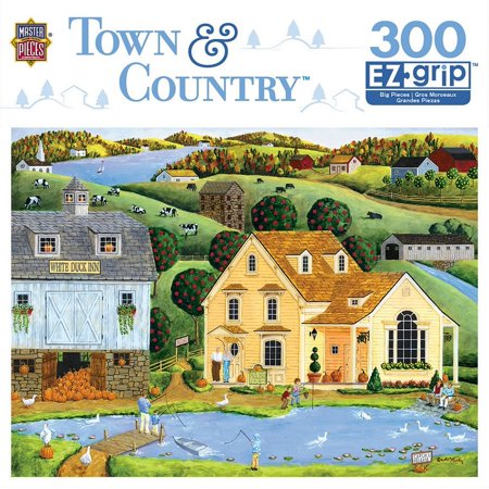 MasterPieces Town & Country The White Duck Inn - Inn with Pond Large 300 Piece EZ Grip Jigsaw Puzzle by Art Poulin (Jigsaw Puzzle With Large Pieces)