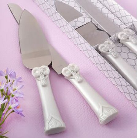 Heart and Cross Stainless Steel Wedding Cake Knife and Server Set Reception New](Cake Knife Set)