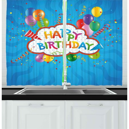 Birthday Curtains 2 Panels Set, Wavy Blue Colored Backdrop with Greeting Text Party Hats Confetti Best Wishes, Window Drapes for Living Room Bedroom, 55W X 39L Inches, Multicolor, by