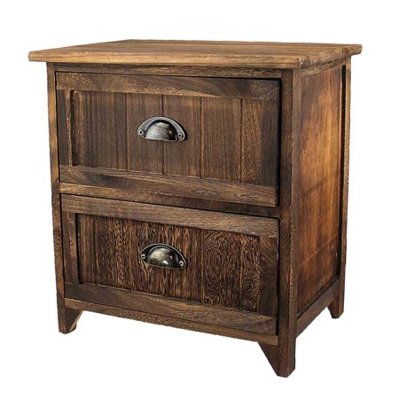Prefinished Real Wood - Nightstand Classic Rustic Dark Brown Wood - Night Stand Storage bedside table with 2 Drawer Real Natural Indus Wood Texture