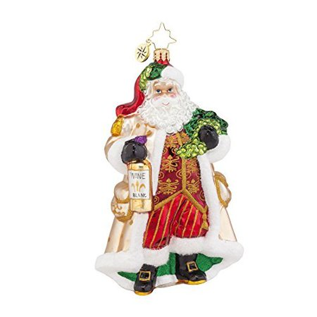 Christopher Radko Off the Vine Blanc Santa Glass Christmas Ornament - 6