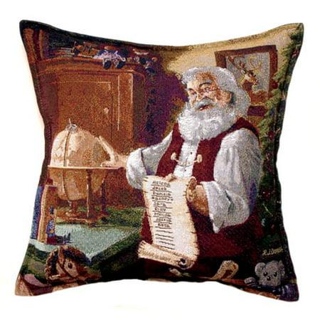 Santa Claus Checking List Tapestry Throw Pillow USA Made ()