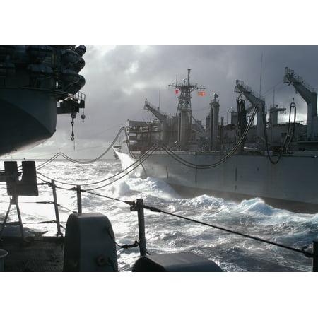 Military Sealift Command Ships - LAMINATED POSTER The Military Sealift Command ship, USNS Supply (T-AOE 6) steams alongside USS Enterprise (CVN 65) wh Poster Print 24 x 36
