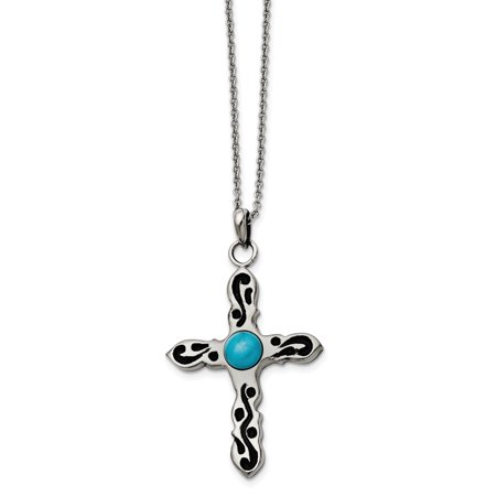 Stainless Steel Polished Imitation Turquoise Antiqued Cross Necklace 20in
