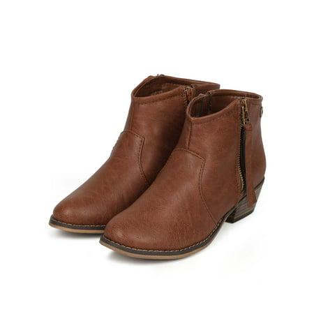 Distressed Tan Footwear (Breckelles Dorado-11 Tan Distressed Leatherette Zip Tassel Ankle Riding Bootie (8.5) )