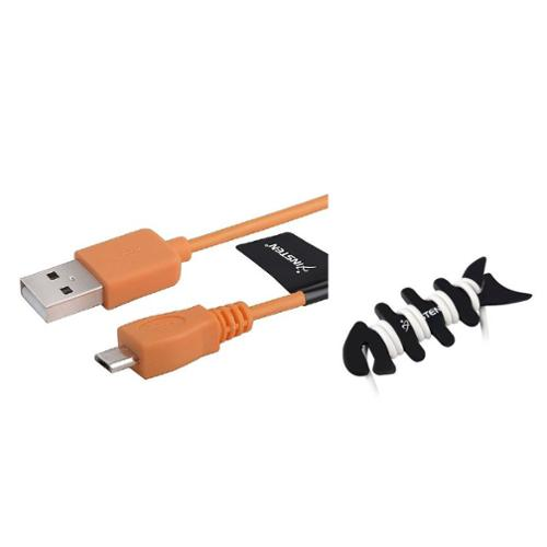 Insten Orange 6' Micro USB Data Sync Charger Cable for Android Smartphone (with Free Headset Wrap)