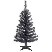 National Tree TT33-704-30-1 3 ft. Black Tinsel Tree with Plastic Stand