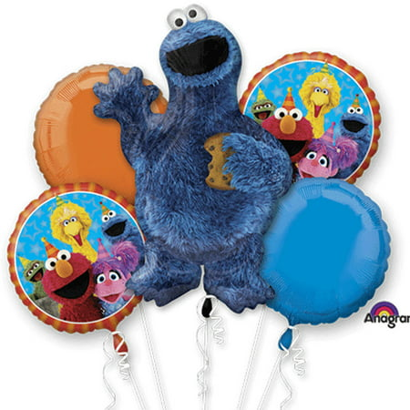 cookie monster character authentic licensed theme foil balloon bouquet ()