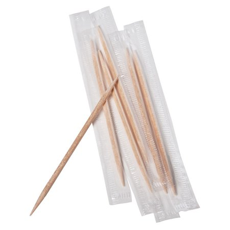 Royal Paper RM115, Mint Wooden Toothpicks, Individually Wrapped, 1000-Piece Box