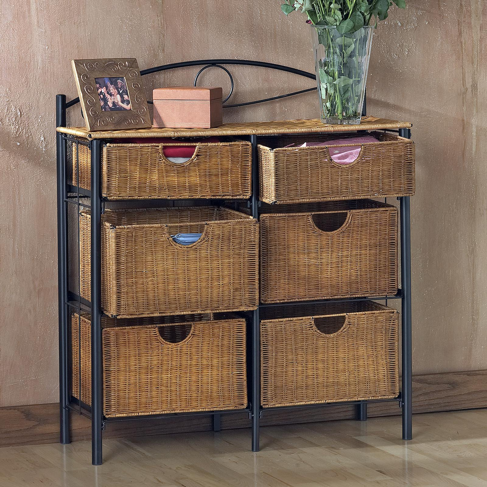 SEI 6-Drawer Wicker Storage Chest by Southern Enterprises Inc