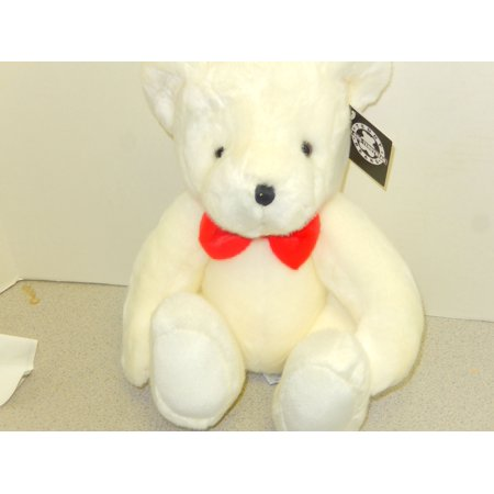 RUSS 12' WHITE TEDDY BEAR  WITH RED BOW TIE # 48879