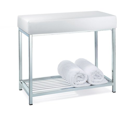 Backless Vanity Stool Bench, White Bathroom Bench With Storage