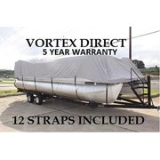 """Grey 22 ft vortex ultra 5 year canvas pontoon/deck boat cover, elastic, strap system, fits 20'1"""" ft to 22' long deck area, up to 102"""" beam"""