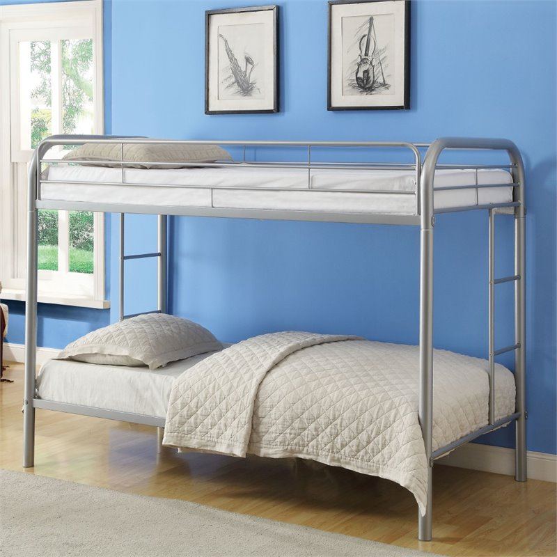 Bowery Hill Twin over Twin Bunk Bed in Silver