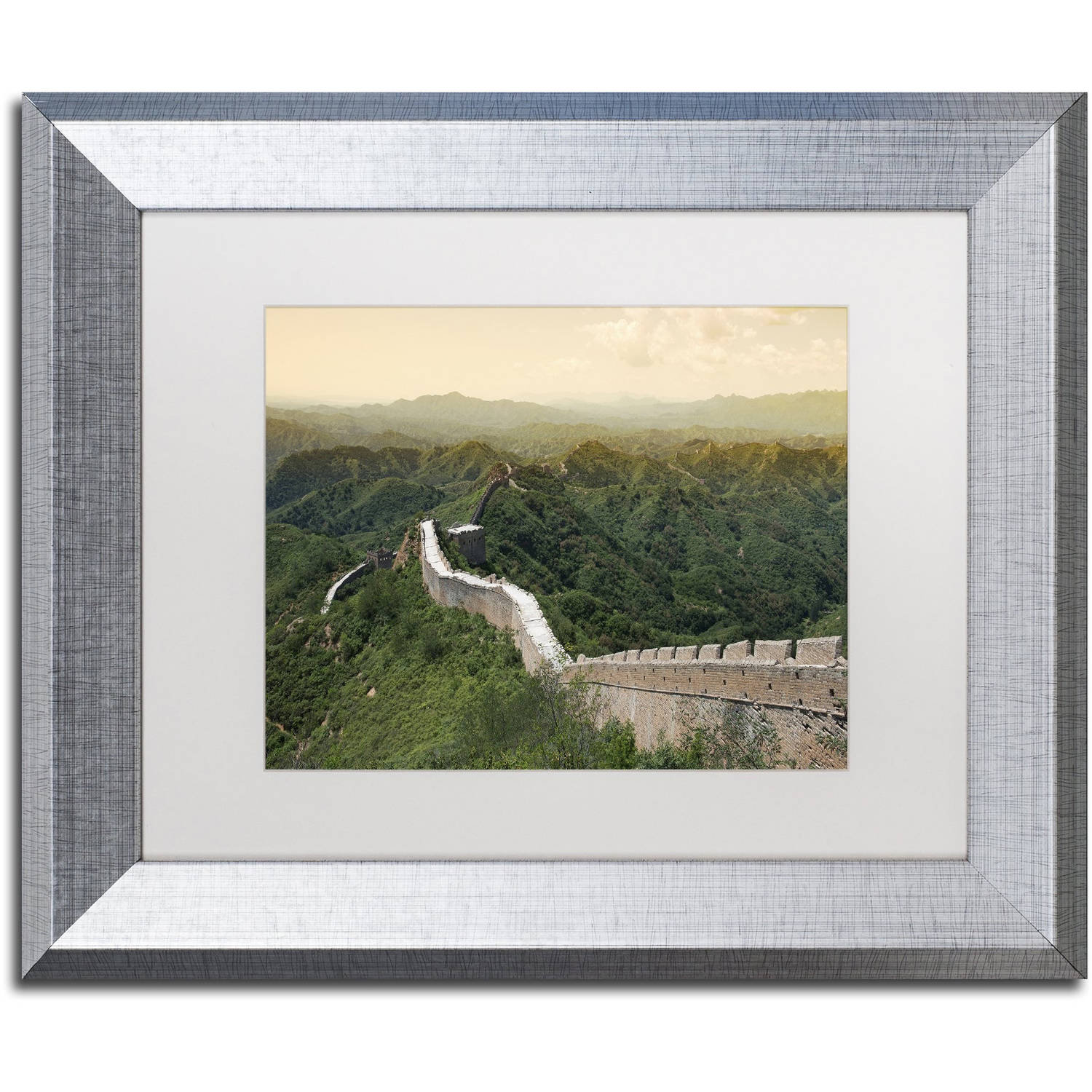 "Trademark Fine Art ""Great Wall IV"" Canvas Art by Philippe Hugonnard, White Matte, Silver Frame"