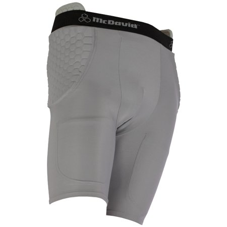 Hexpad Football Girdle - McDavid Classic Logo 756 Mens HexPad High Hip Pad Football Girdle Grey XL
