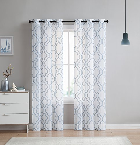2 Pack: VCNY Home Charlotte Embroidered Quatrefoil Trellis Semi Sheer Curtain Panels Assorted Colors & Sizes 96 in.... by