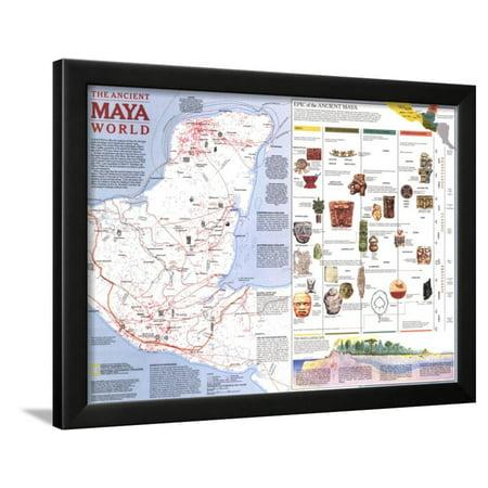 Maya World Map.1989 Ancient Maya World Map Framed Print Wall Art By National