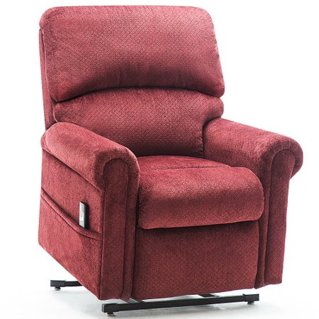 CLEARANCE! Recliner Chair for Lounge, Single Recliner Chair, Ergonomic Power Lift Recliner Chair w/Padded Seat Backrest, Velvet lazy boy Chaise for Home, Living Room, Lounge, Wine Red, S11590 ()