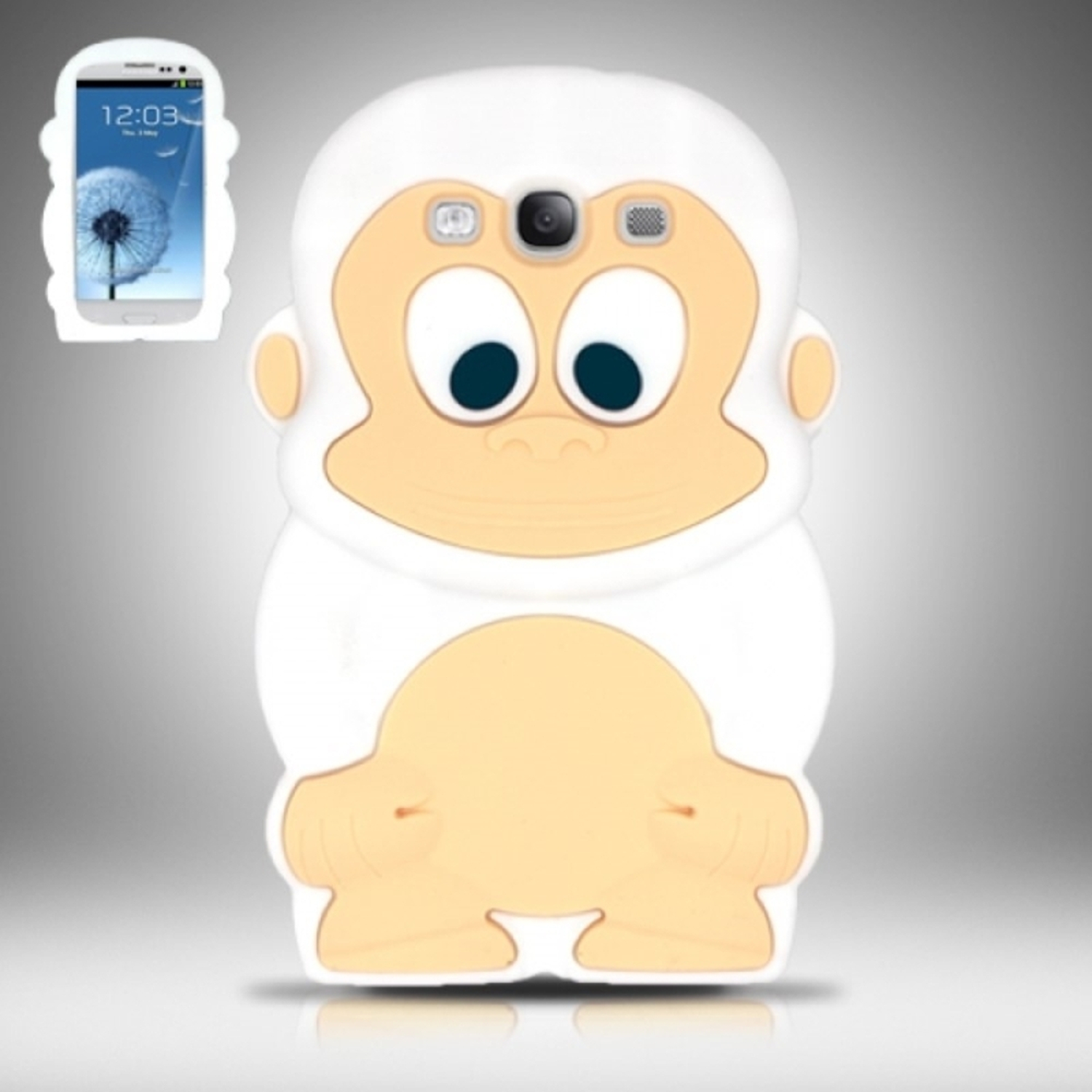 Insten White Monkey Monkey Style 3D Silicone Soft Skin Case Cover For Samsung Galaxy S III S3 i9300