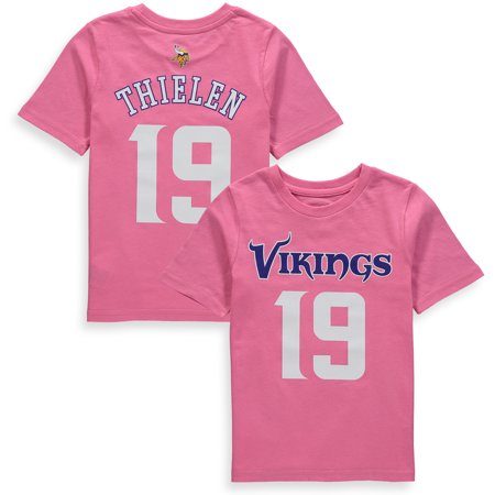 69800aab Adam Thielen Minnesota Vikings Girls Preschool Player Mainliner Name &  Number T-Shirt - Pink