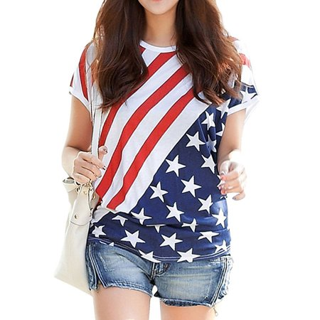 Starvnc Women Independence Day Short Sleeve American Flag Print Shirt - 4 Of July Shirts