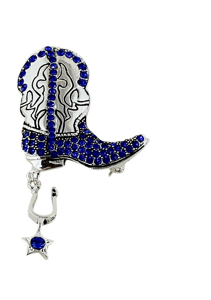 Glittering Crystal Cowboy Boot with Spur Brooch and Pendant Sapphire by