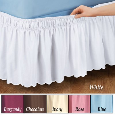 Scalloped Elastic Bed Wrap Around, Easy Fit, Dust Ruffle Bedskirt, Ivory, Queen/King