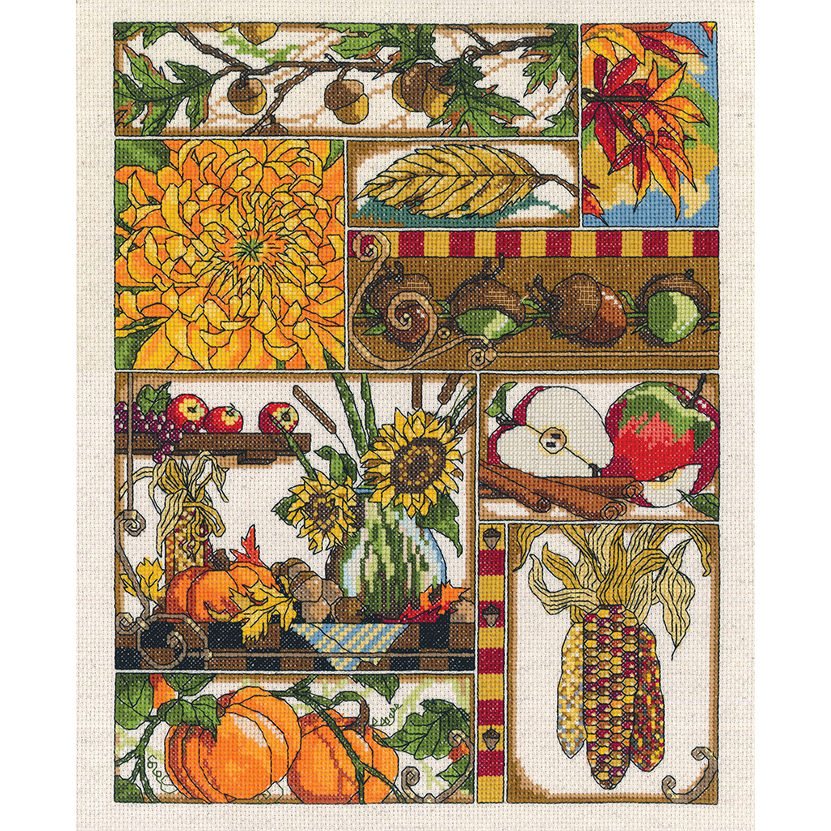 """Autumn Montage Counted Cross Stitch Kit-11""""X14"""" 14 Count"""