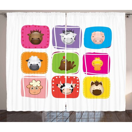 - Baby Curtains 2 Panels Set, Geometric Pattern with Squares Animal Faces Horse Chicken Cow Duck Sheep and Pig, Window Drapes for Living Room Bedroom, 108W X 96L Inches, Silver Emerald, by Ambesonne