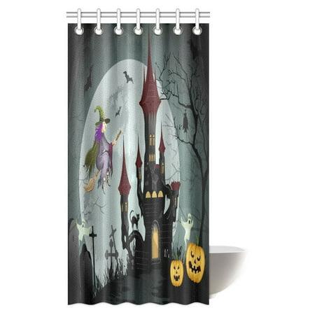 Halloween Shower Curtain Set (MYPOP Halloween Decorations Shower Curtain, Halloween Night Scene with Spooky Castle Fabric Bathroom Set with Hooks, 36 X 72)